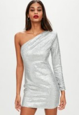 missguided silver one shoulder sequin shift dress – party glamour – glamorous going out dresses