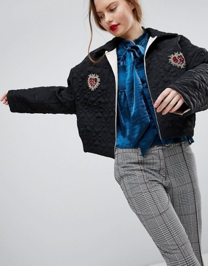 Sister Jane Quilted Bomber Jacket With Embellished Broach Detail