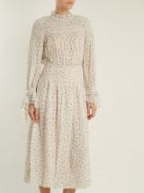 REBECCA TAYLOR Smocked star-print silk and cotton-blend dress ~ gathered dresses ~ feminine clothing