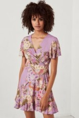 $128.00 Spell & The Gypsy Collective Blue Skies Wrap Mini Dress In Lilac