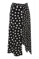 Topshop Spotted Hanky Hem Skirt   monochrome spot print asymmetric hem skirts