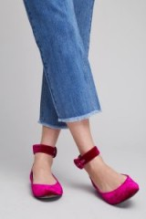 Anthropologie Stacia Velvet Pumps / hot pink flats! / ankle strap flat shoes