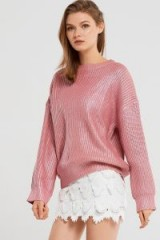 STORETS Stacy Shiny Oversized Pullover | pink metallic jumpers