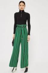 Topshop Stripe Paperbag Wide Leg Trousers | green stripes