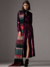 Burberry Striped Rib Knit Wool Cashmere Scarf Bright peony – long knitted scarves – winter accessories