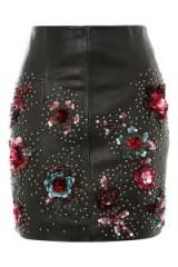 Topshop Stud Floral Leather Mini Skirt   black embellished skirts