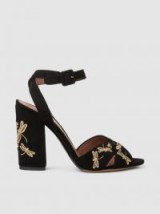 TABITHA SIMMONS Connie Fly Embroidered Suede Block-Heel Sandals ~ dragonfly embroidery sandal