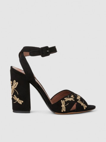 TABITHA SIMMONS‎ Connie Fly Embroidered Suede Block-Heel Sandals ~ dragonfly embroidery sandal