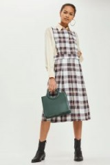 TOPSHOP Tartan Midi Pinafore Dress / check prints / plaid