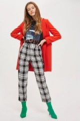 Topshop Monochrome Tartan Peg Trousers