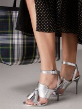 Burberry Tassel Metallic Leather Sandals / silver statement shoes / dream heels