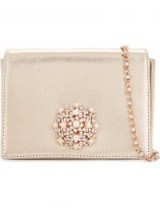 TED BAKER Lykaa brooch metallic leather cross-body bag ~ rose-gold evening bags ~ luxe occasion crossbody