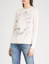 TED BAKER Risolo Enchanted Dream embellished cotton-blend jumper ~ pale pink printed jumpers
