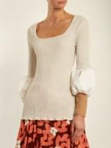 TOGA Teleco mesh-cuff ribbed-knit sweater ~ cream puff sleeve sweaters