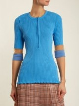 TOGA Teleco mesh-insert ribbed-knit sweater ~ blue sheer panel sweaters