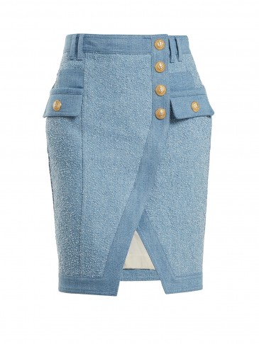 ALMAIN Textured-denim mini skirt ~ asymmetric hemline skirts