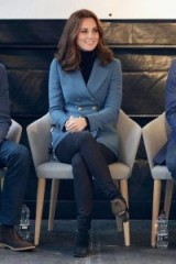 Catherine Duchess of Cambridge relaxed style, blue blazer, dark jeans and black suede ankle boots