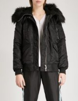THE KOOPLES Faux-fur trimmed shell bomber jacket ~ casual luxe ~ black winter jackets