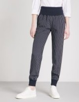 THEORY Striped relaxed-fit silk trousers | cuffed pants