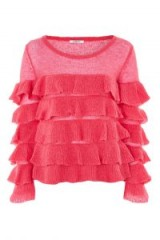 Glamorous Pink Tiered Knitted Jumper