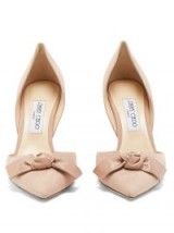 JIMMY CHOO Twinkle 85mm suede pumps ~ nude front bow courts ~ luxe court shoes