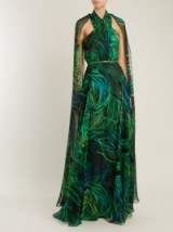 ELIE SAAB Twisted-neck silk-georgette gown ~ open back, cape style gowns ~ long green event dresses