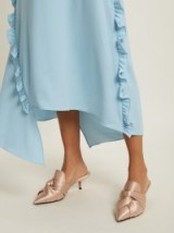 NO. 21 Twisted pale-pink satin point-toe mules ~ luxe slip ons