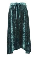 Topshop Velvet Tie Midi Skirt | sage-green asymmetric skirts