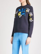 VICTORIA VICTORIA BECKHAM Floral-embroidered cotton-blend jumper ~ navy-blue crew neck jumpers