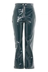 TOPSHOP Vinyl Kick Flare Trousers – bottle-green high shine pants – casual luxe