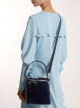 STAUD Vitti crushed-velvet bucket bag ~ blue luxury top handle bags