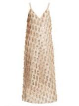 RAEY V-neck tinsel midi slip dress ~ luxe cami dresses
