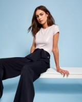 TED BAKER MAURLI Wide leg self-tie trousers | chic dark blue pants