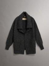 Burberry Wool Cashmere Blend Oversized Cardigan Black