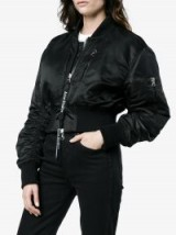 Acne Studios Aila Black Reversible Cropped Bomber Jacket