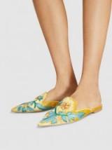 ALBERTA FERRETTI Mia Floral Embroidered Velvet Mules ~ yellow-gold luxe flats