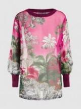 ALBERTA FERRETTI Pink Palm Print Silk-Chiffon Top ~ luxe tops