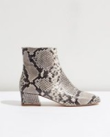 JIGSAW ALDE SIDE ZIP BOOTS / snake print ankle boots