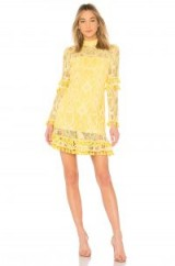 Alexis CALLISTO DRESS YELLOW – pom pom tassel party dresses – part sheer lace