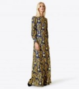 TORY BURCH ALICE DRESS ~ long luxe embroidered dresses ~ gold metallic embroidery
