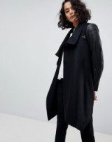 AllSaints Pea Coat with Leather Sleeves ~ black coats with style