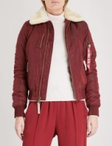 ALPHA INDUSTRIES Injector III padded shell bomber jacket | burgundy-red shearling collar jackets