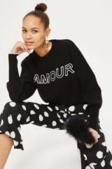 Topshop 'Amour' Slogan Jumper
