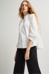 French Connection ARMONA COTTON FEMINIE SHIRT SUMMER WHITE – romantic frilled shirts