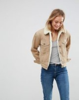 ASOS Cord Jacket With Borg Collar in Stone – neutral tone corduroy jackets