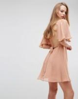 ASOS High Neck Flutter Sleeve Open Back Mini Dress ~ nude-pink party dresses