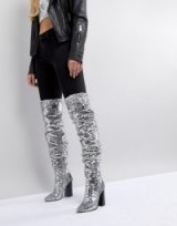 ASOS KILLER BEE Sequin Over The Knee Boots ~ sparkly silver sequins