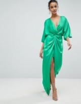 ASOS Kimono Twist Front Maxi Dress | long bright green dresses
