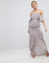 ASOS Multi Layer Lace Ruffle Cami Maxi Dress – long grey tiered occasion dresses