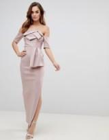ASOS Scuba Bardot Folded Bow Front Maxi Dress in Mink | party glamour